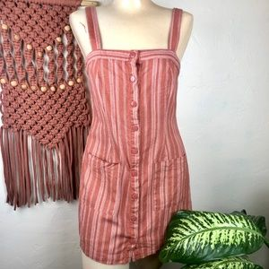 Forever 21 Striped Button Front Striped Tank Dress